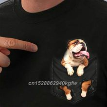 English Bulldog Inside Pocket T Shirt Dog Lovers Black Fashion Men Made In Usa Cartoon T Shirt Men 100% Cotton Unisex Tshirt(China)