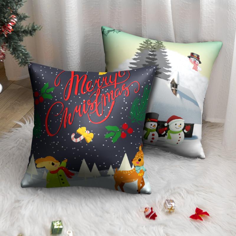 Nanacoba Рождественский Снеговик Печать Подушка Чехол Стиль