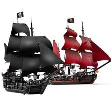 Barco la Perla Negra, Compatible con barcos piratas 4184 4195, modelo caribeño, bloques de construcción con figuras, regalos de cumpleaños, juguetes para niños
