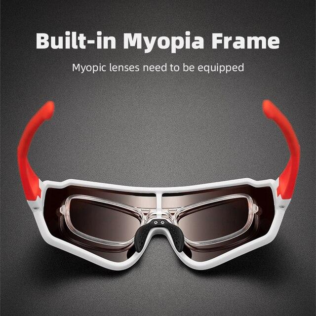 Rockbros ciclismo óculos homem mulher photochromic esporte ao ar livre caminhadas óculos polarizados óculos de sol quadro interno bicicleta 3