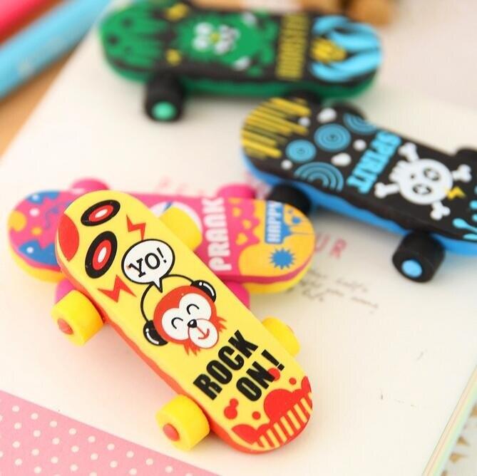 1pcs/pack Creative Cute Kawaii Skateboard Eraser For Kids Student Gift Novelty Material School Stationery Supplies Pencil Eraser