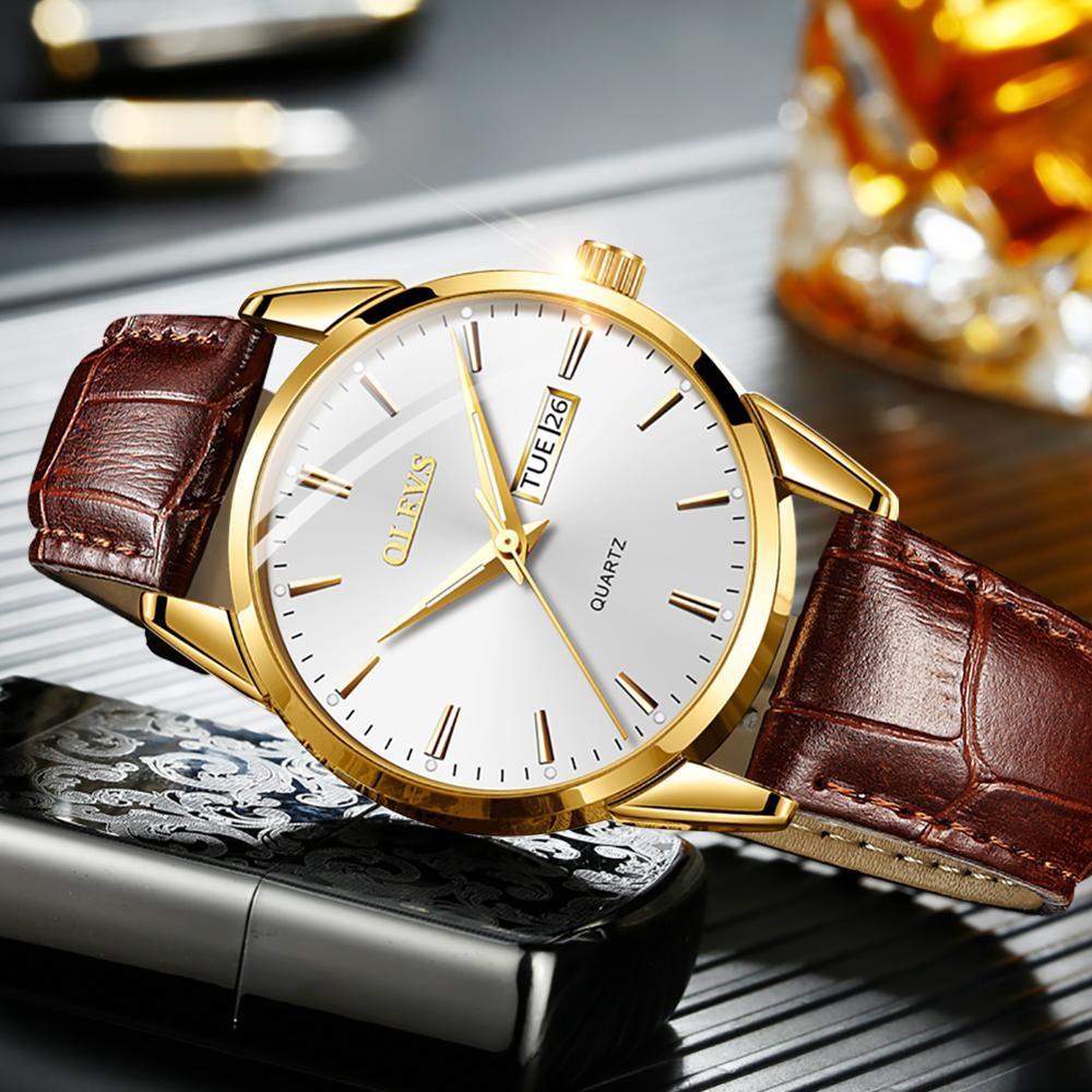 OLEVS 2020 New Best Selling Mens Watches Luminous Dual Display Leather Waterproof Sport Quartz Watch For Men Relogio Masculino 2