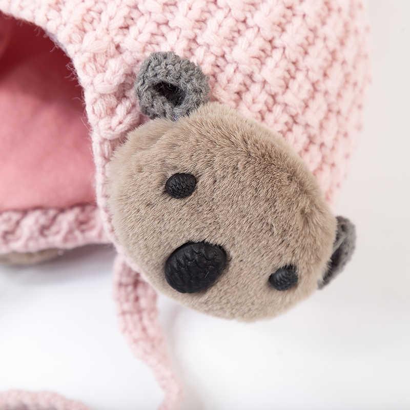 ฤดูใบไม้ร่วงและหมวกฤดูหนาว 1 หญิงขนสัตว์หมวกหมีเด็กผม earmuffs เด็ก 6 เดือน-3 ปีหมวกอุ่น