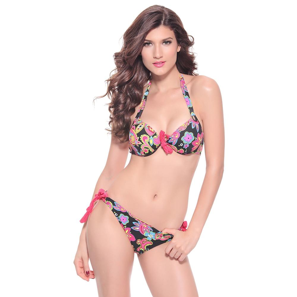 Womens Patchwork Bikini Push-up Bikinis Swimwear Swimsuit Beachwear Bathing Suit Biquinis Maillot De Bain Two Piece Swim Summer