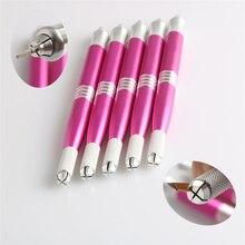 50pcs Profissional Microblading Manual Dual-head Pink Pen Permanent Eyebrow Makeup Aluminium Handmade Tattoo Pen
