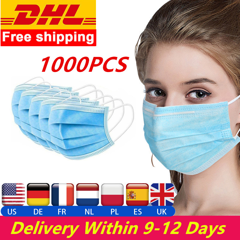 Wholesale 1000 PCS DHL In Stock Fast Delivery 3 Layer Disposable Protective Mask To Prevent Disease Mask Face Mouth Safety Masks