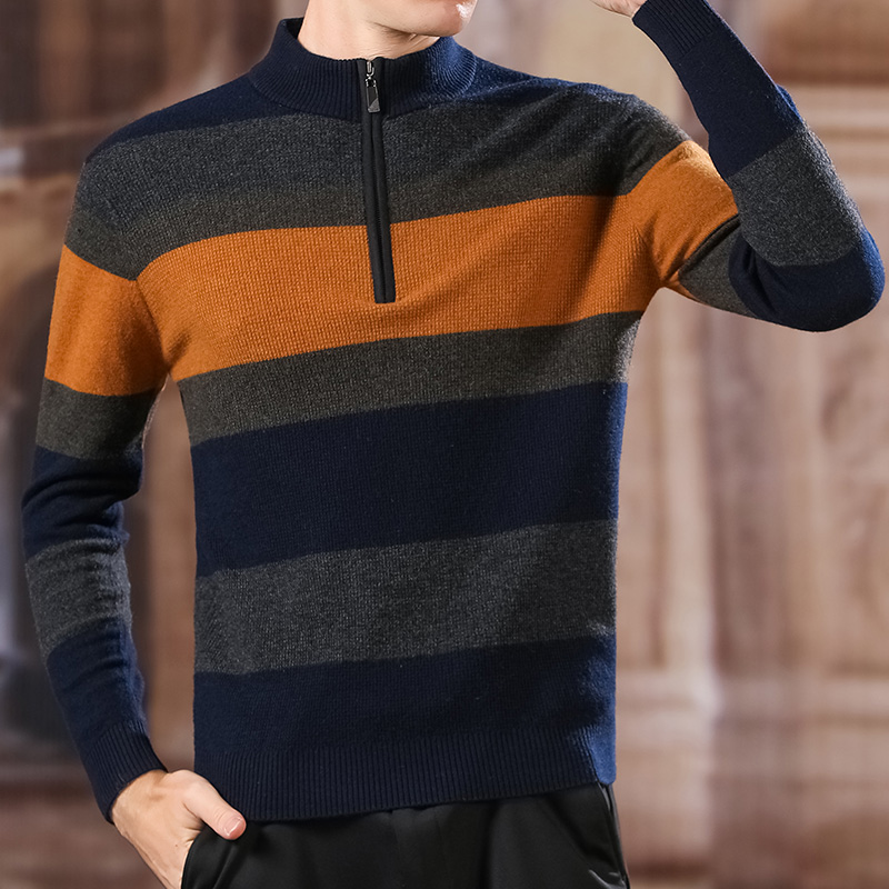 100% Wool Fashion Sweater For Mens Half Zip Pullover Slim Fit Jumpers Knitwear Winter Striped Korean Style Casual Clothing Men