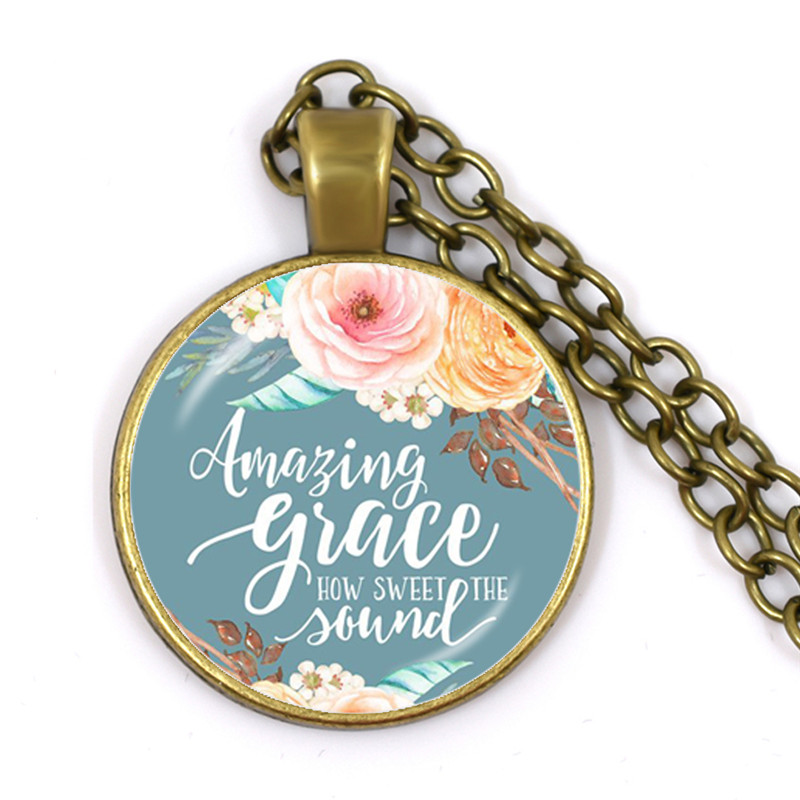Amazing Grace How Sweet the Sound Bible Verses Nursery Verse Necklace Fashion Jewelry Religion Pendant Christian image
