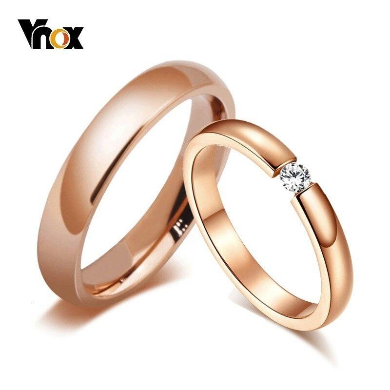 Vnox moda parlak 585 gül altın ton alyans çiftler için paslanmaz çelik CZ taş erkekler kadınlar düğün bantları