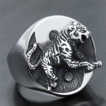 FDLK   Fashion Rings Tiger Animial Pattern Ring Punk Zinc Alloy Rings For Men Accessories Anniversary Party Gift