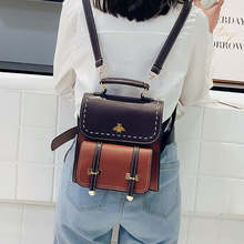 2020 New Vintage Pu Leather Women Backpack Simple Preppy Sty