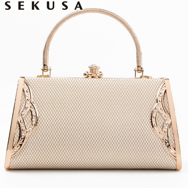 SEKUSA Laided Evening Bags Female Luxury Metal Golden Clutches Bridal Handbags For Bucket Diamonds Party Dinner Purse Bags