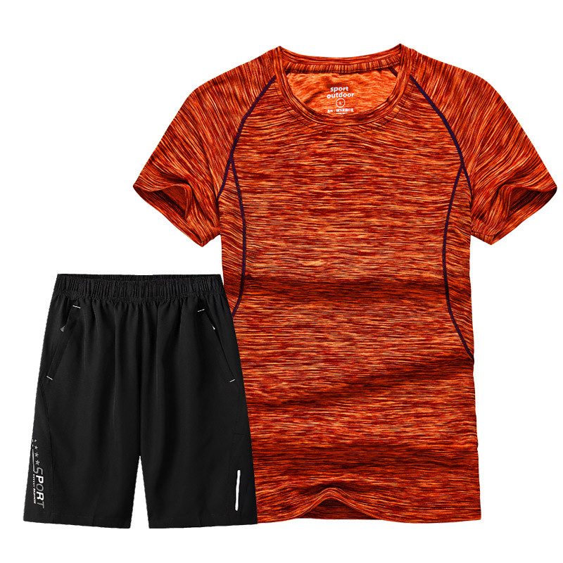 Men's Set New Summer Tracksuit Short-Sleeve T Shirt Shorts Suits Male Quick Dry Sportswear Suit Breathable Clothing Running Sets