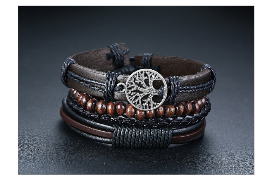 H8f2ee7329fc74a6899ed9ab3a45f796cX - Vnox 4Pcs/ Set Braided Wrap Leather Bracelets for Men Vintage Life Tree Rudder Charm Wood Beads Ethnic Tribal Wristbands