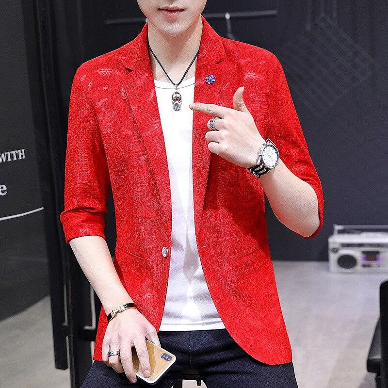 2020 Men's Summer New Style Retro Floral England  BLAZER Teenager Jacquard Half-sleeve Shirt BLAZER