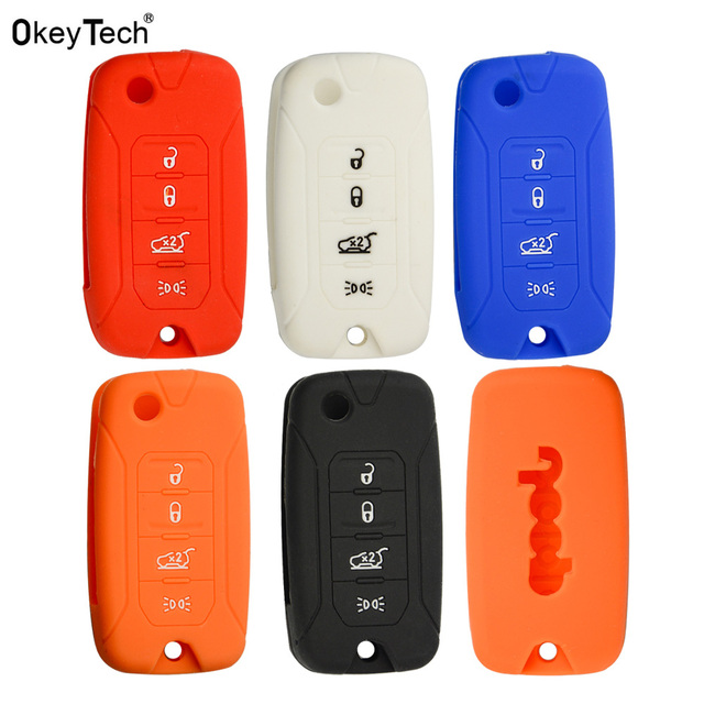 OkeyTech 4 Button Silicone Car Key Case Protector Holder for Jeep Renegade 2018 2017 2016 2015 Folding Filp Remote Car Key Shell