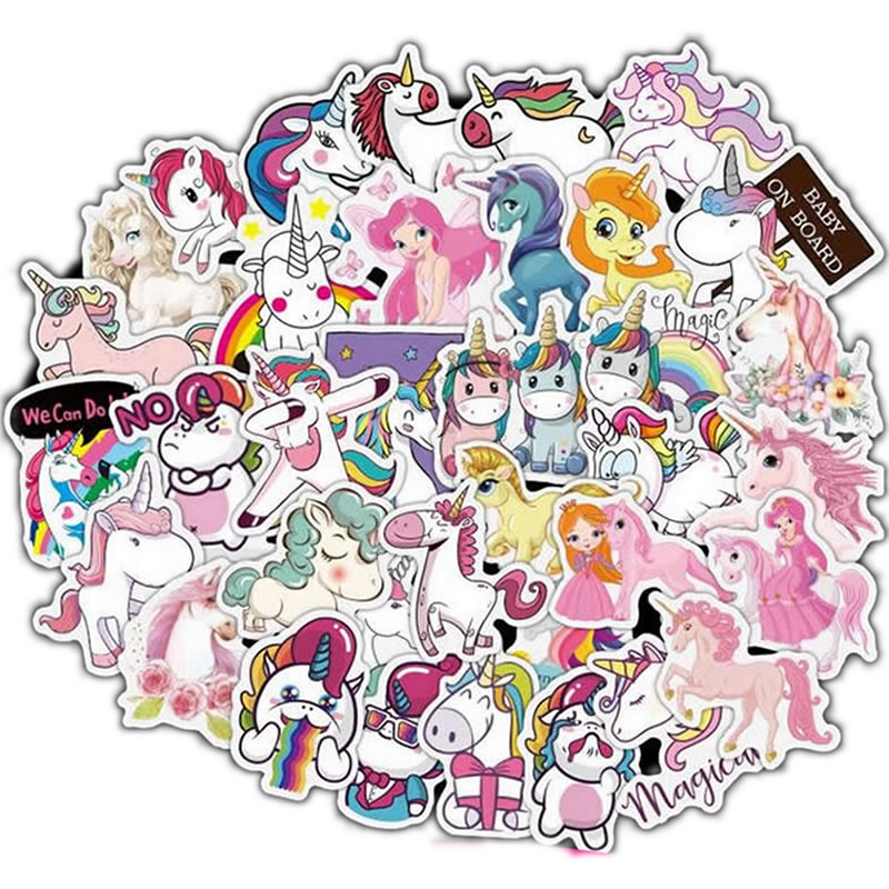 10/30/50pcs Classic DIY Waterproof Animal Unicorn Stickers Skateboard Suitcase Guitar Girls Funny Graffiti Sticker Kids Toys