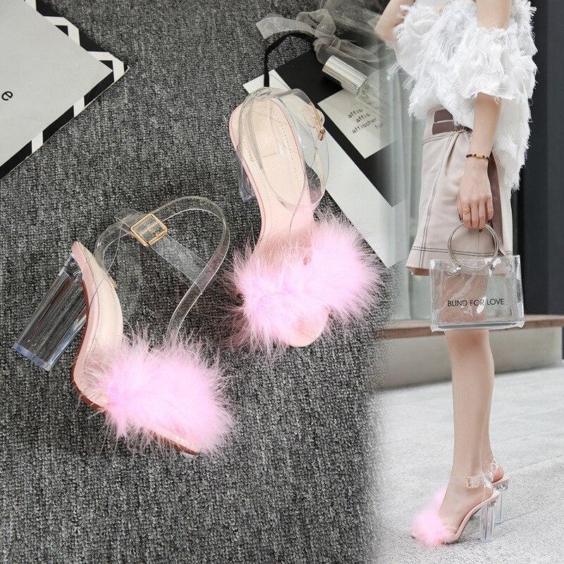 Sandals Women Buckle-Strap Hoof-Heels Ladies Shoes Peep-Toe Fashion Classics Solid Super-High