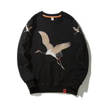 US Size Streetwear Crane Embroidery Pullover Men Hip Hop Sweatshirts O-neck Chinese Style 2019 Mens Autumn Hoodies Casual DG200