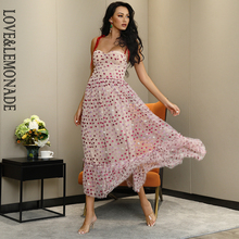 LOVE&LEMONADE Sexy Tube Top Tie Rope Love Print Pink Mesh A-Line Fluffy Mid-Length Maxi Dress LM82659