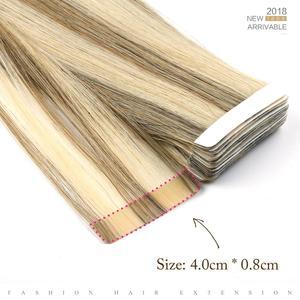 """Image 3 - Neitsi cheveux adhésifs de trame de peau droite aucun ruban Remy dans les Extensions de cheveux humains 12 """"16"""" P14/24K # Double bande latérale couleur Piano"""