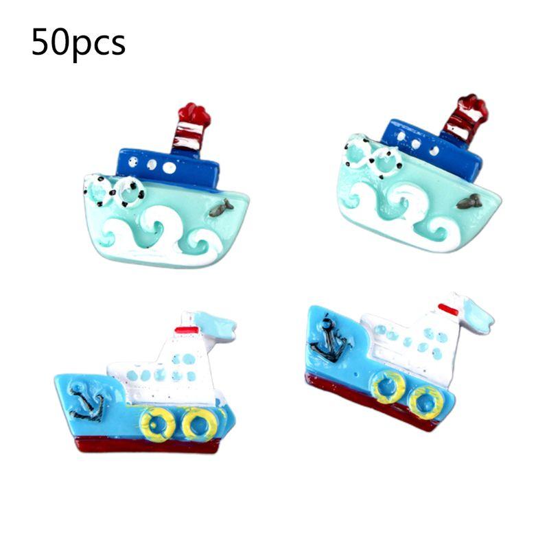 50Pcs/Pack Ocean Series Flatback Resin Cabochon Enamel Ship Steamer Boat DIY For Scrapbooking Hair Clip Phone Decoration