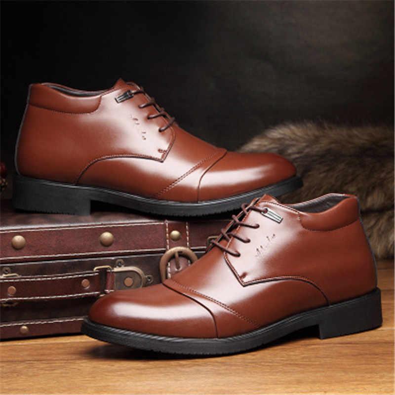 2019 mode Winter Mit Pelz Schnee Stiefel Für Männer Booties Männlichen Schuhe Erwachsene Qualität Gummi Knöchel Warme Stiefel Business kleid schuhe
