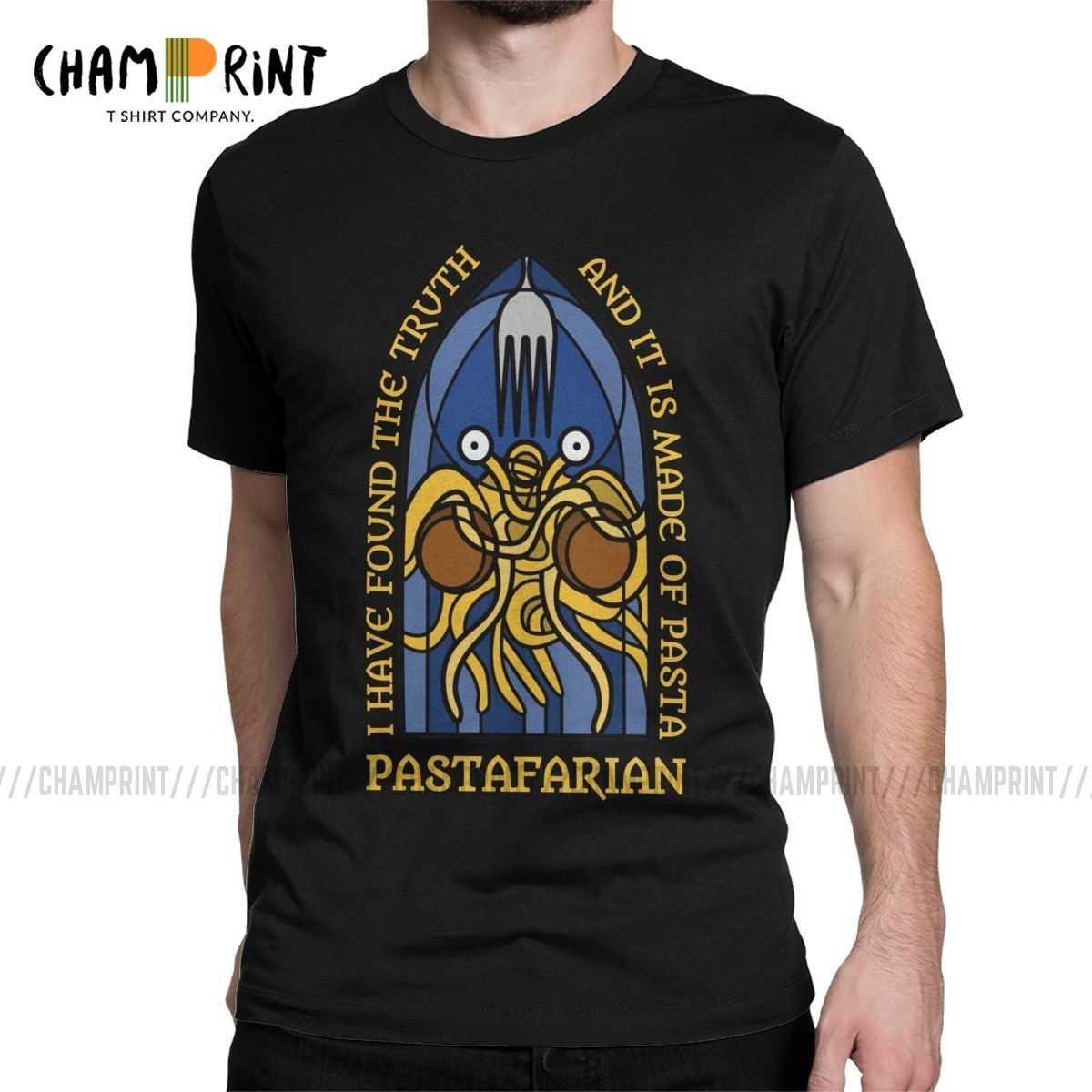 Pria Pastafarian T Shirt Terbang Spaghetti Monsterism Pastafarianism FSM Agama Gereja Pakaian Lucu Tee Kemeja Hadiah T-shirt