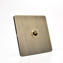 Retro 86 Type Green Bronze Brushed Antique Metal Lever 1-4 Gang 2 Way Wall Light Switch Stainless Steel Panel