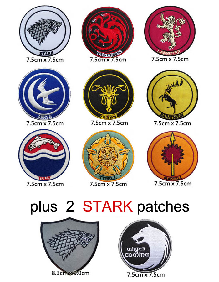 Game Of Thrones Families Tatoo Iron On Patch Stark Targaryen Tyrell Lannister Fabric Patch Children Diy Clothing Accessories Fabric Patch Diy Clothing Accessoriesgame Of Thrones Patch Aliexpress