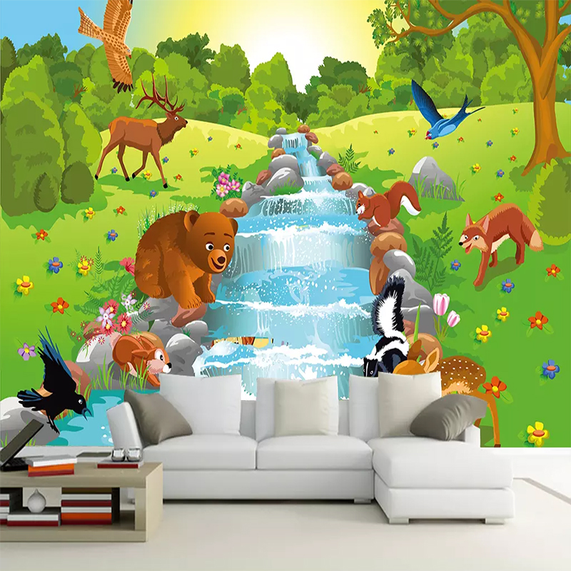 Drop Shipping Custom 3D Photo Wallpaper Nordic Simple Cartoon Animal Forest Bear Non-woven Background Decorative Wall Paper