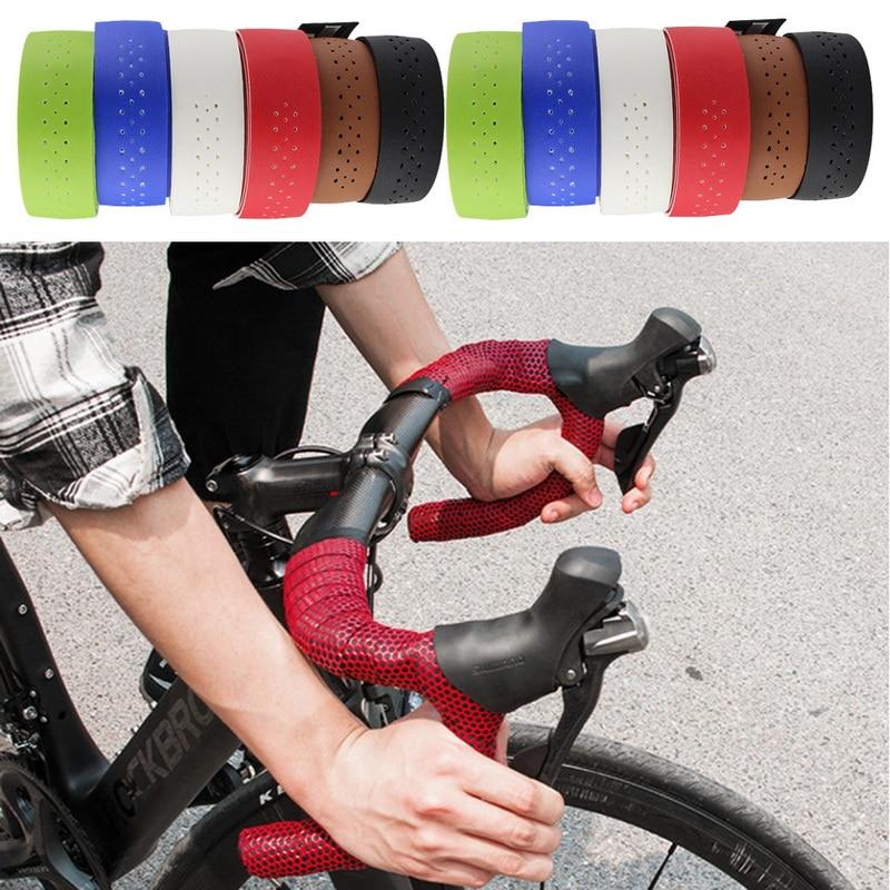MTB Bicycle Handlebar Tape Road Bike PU Leather Perforated Belt Breathable Soft