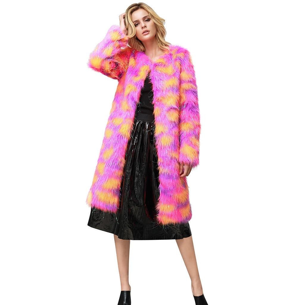 KANCOOLD Olorful Long Faux Fur Coats Women Fashion Pink Artificial Fur Jackets Women Casual Covered  Fur Coats Female Ladies
