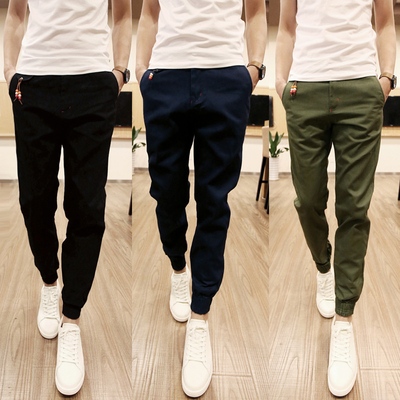 Men Clothe Autumn Men Ankle Banded Pants Slim Fit Harem Pants Large Size Fashion MEN'S Wear Long Pants Korean-style Skinny
