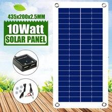 แผงพลังงานแสงอาทิตย์ที่มีความยืดหยุ่นด้วยรถแบตเตอรี่ USB Mini 12 18 VDC 10W 12V SOLAR CELL Charger CONTROLLER camping กลางแจ้งไฟ LED