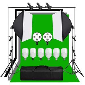 Image 1 - 1.6*3 メートルグリーンスクリーン不織布背景サポートスタンドキット 4 ランプソケット 25 ワットledランプ写真撮影 50 × 70 センチメートル照明ソフトボックスセット