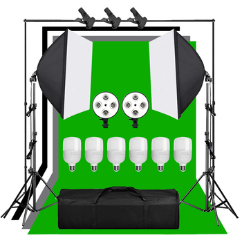 1.6*3m Green Screen Non-woven Background Support Stand Kit 4 Lamps Socket 25W LED Lamp Photography 50x70CM Lighting Softbox Set