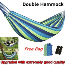 Portable Hammock 1-2 People Outdoor Swing Chair Garden Home Travel Camping Swing Canvas Stripe Hanging Bed Hammock with Backpack