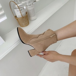 Image 2 - Giày Bốt Nữ Cao Gót Ống Đơn Giản Mùa Đông Đa Năng Màu Boot Khóa Kéo Đàn Mũi Nhọn Nữ Giày Size34 48 Đen màu Be