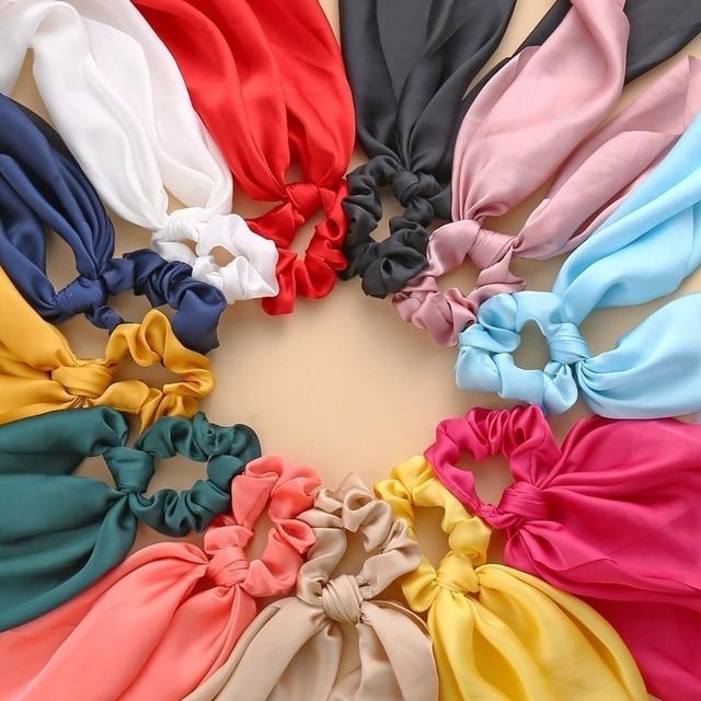 Floral Print Bow Satin Long Ribbon Ponytail Scarf Hair Tie Scrunchies Women Girls Elastic Hair Bands Hair Accessories 6