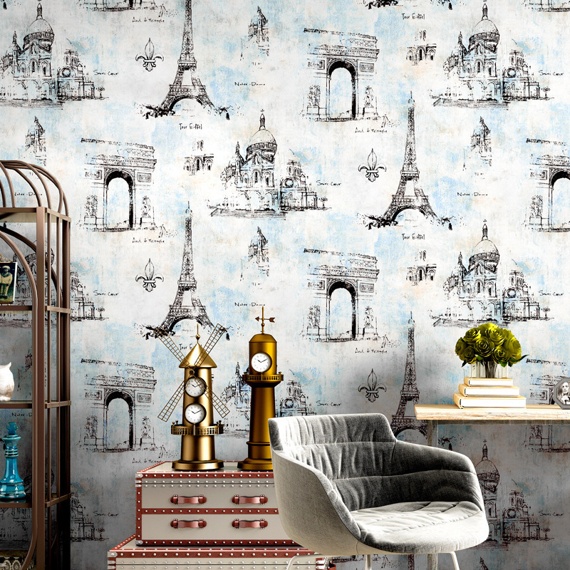 American Vintage Wallpaper Nostalgic Iron Tower Coffee Shop Cool Industrial-Style Wallpaper Restaurant Clothing Store Hotel Barb