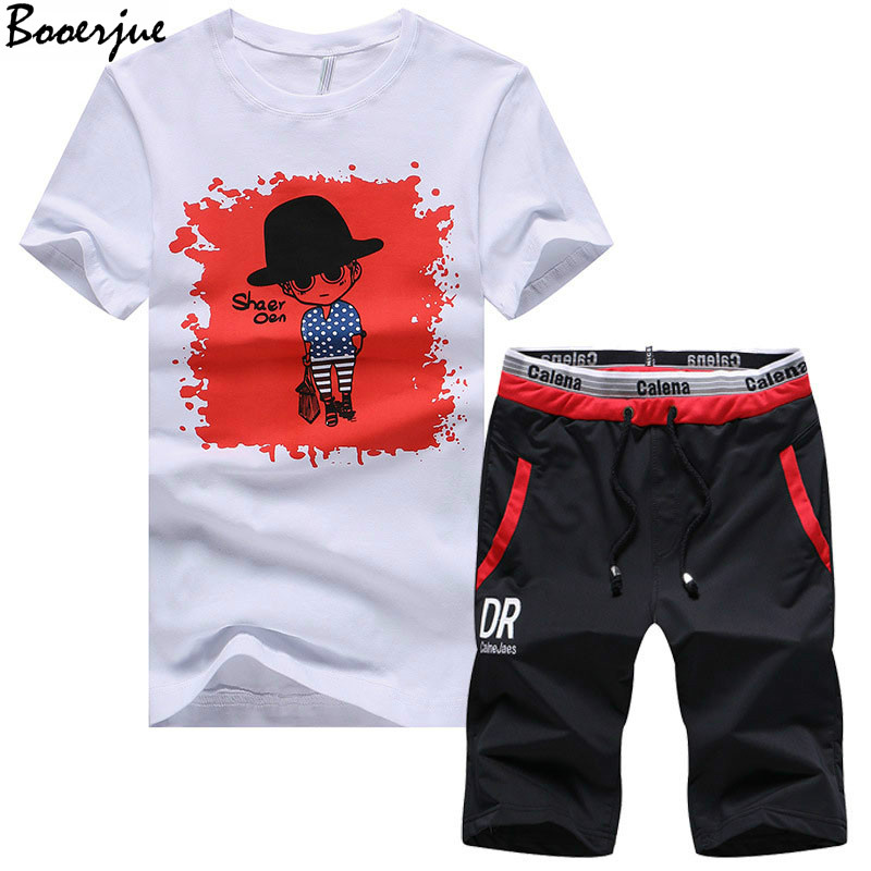Summer Men Set Casual 2PC Print Cartoon People Pattern Fitness Male Tracksuit Clothing T-Shirt + Shorts Moletom Masculino 2020