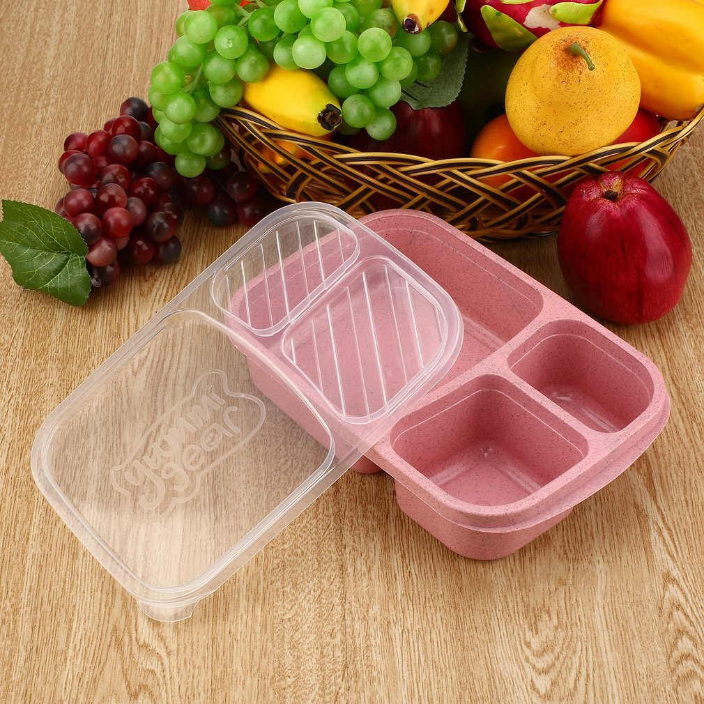 High Temperature Resistant 3 Grid Bento Lunch Box Food Container Storage Box