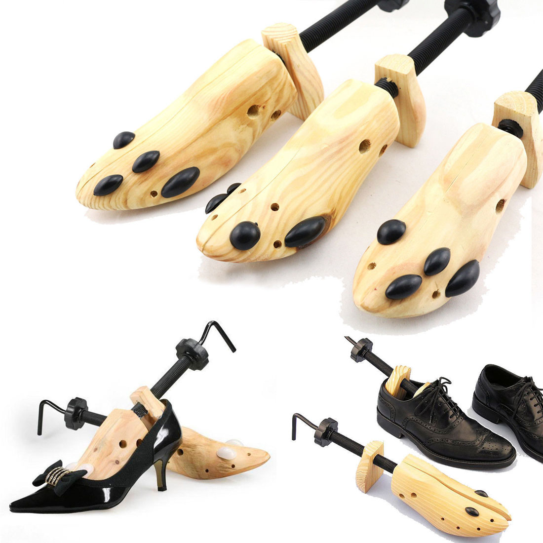1Pc Men Women Wooden Adjustable 2-Way Professional Shoe Stretcher Shaper Shoe Tree Holder For Boot Shoe Expander Extender Keeper