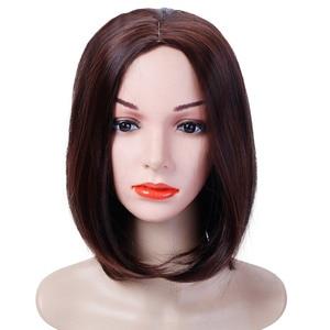 Image 3 - Женский парик из прямых синтетических волос MUMUPI, парик из коричневого, черного, розового и серого цветов, 13 цветов