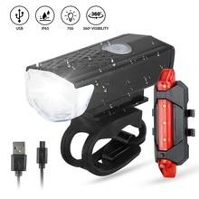 1Set di luci posteriori anteriori per bici da bicicletta Set di luci per fari di ricarica USB per bicicletta MTB fanale posteriore impermeabile lanterna a LED accessori per bici