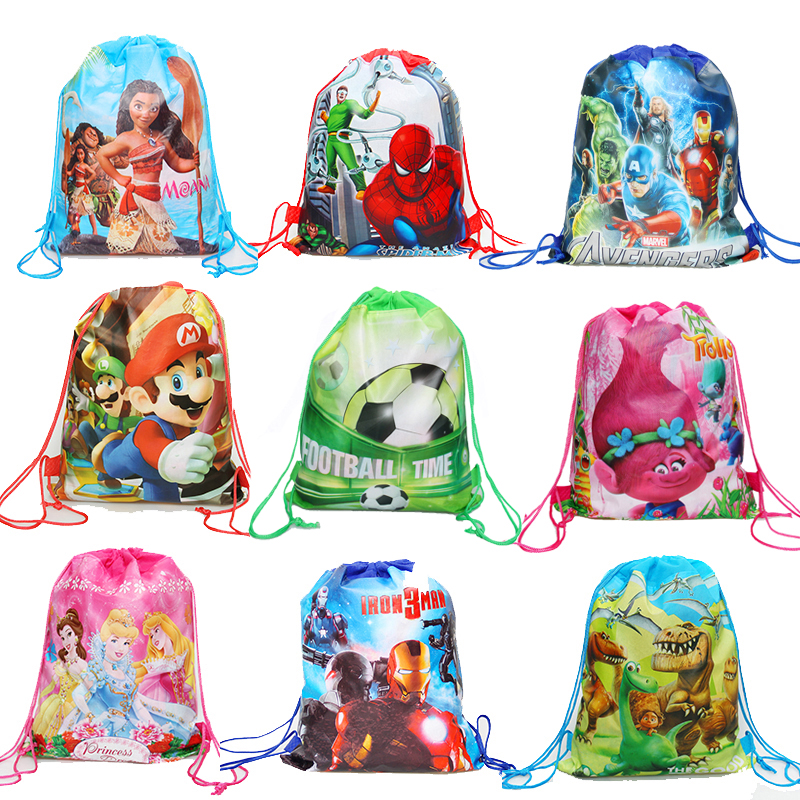 1pcs Cartoon Unicorn/Princess/Mario/Spiderman Drawstring Bag Draw Pocket Kids School Backpack Kids Party Supplies Gift Bag
