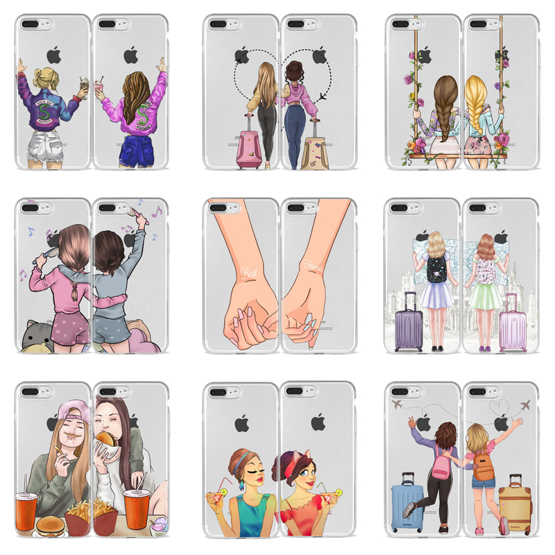 Girls <font><b>Bff</b></font> Best Friends Forever Soft TPU silicone Phone <font><b>Case</b></font> For <font><b>iPhone</b></font> Xs 6 6S 7 8 Plus X XR XS MAX 11 Pro Max Back Cover Coque image