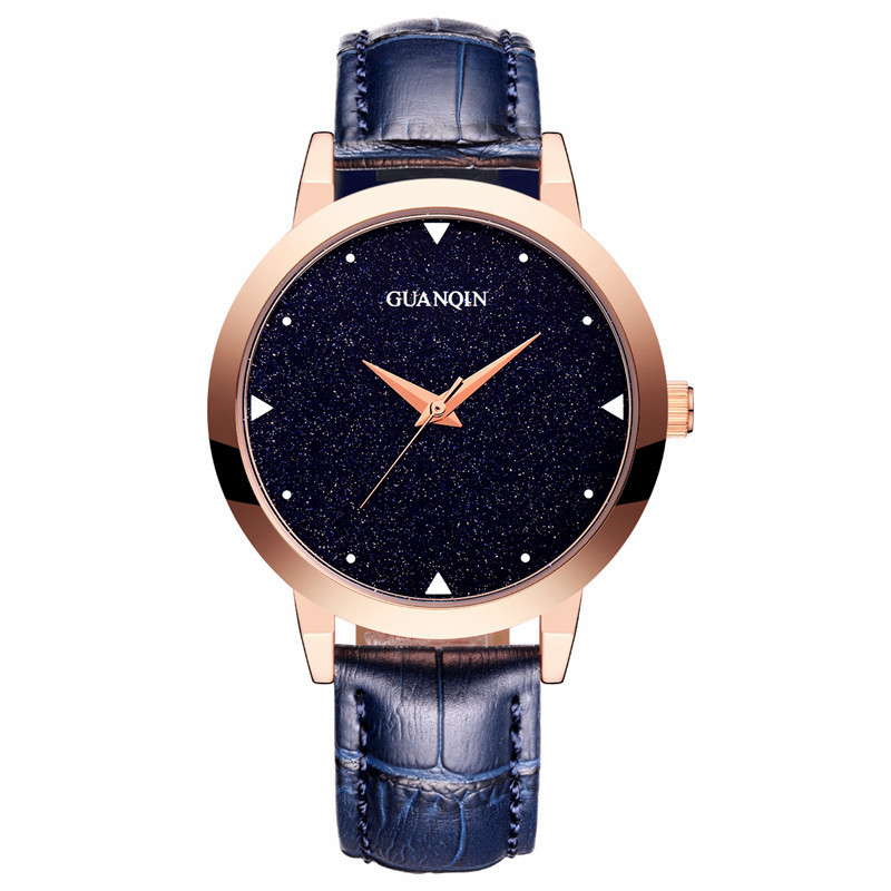 GUANQIN GS19051 Top Nova Marca de Relógios Das Senhoras Das Mulheres relógio de Pulso À Prova D' Água com Céu Preto Dial e Pulseira de Couro