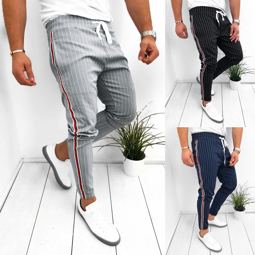 40# Check Trousers For Men men's Sweatpants Joggers Striped Patchwork Casual Drawstring